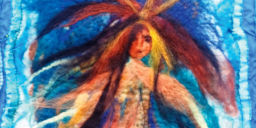 Artist Zela Bissett combines fibres from both plants and animals in her latest exhibition, now on show in Eumundi.