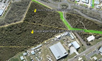 An aerial view of the bushland reserve and nearby Queensland Air Museum