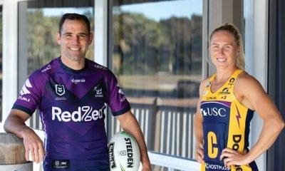 Melbourne Storm captain, Cameron Smith with Sunshine Coast Lightning captain, Laura Langman. Image: Eyes Wide Open Images