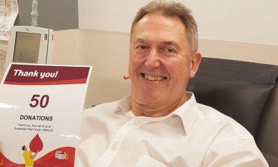 Caloundra's Mark Davis recently made his 50th blood donation